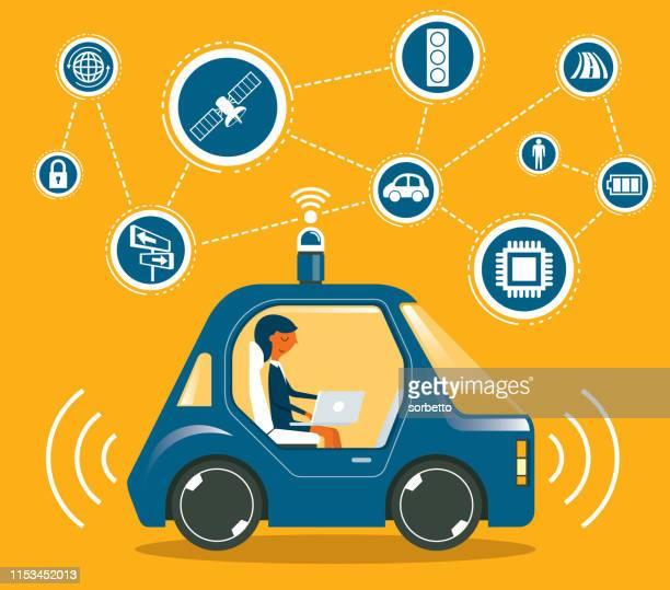 autonomous car - businesswoman - runaway vehicle stock illustrations, clip art, cartoons, & icons