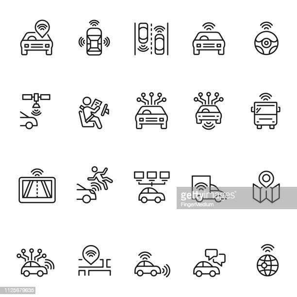 illustrazioni stock, clip art, cartoni animati e icone di tendenza di set di icone auto autonome - sensore