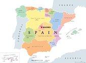 Autonomous communities of Spain political map