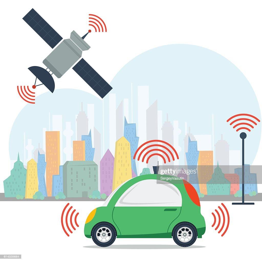 Autonomous machine with satellite control