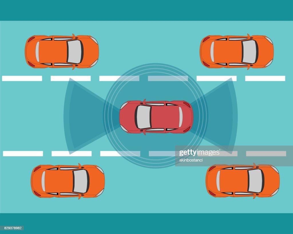 Autonomous, Self Driving, Driverless Car Illustration : stock illustration