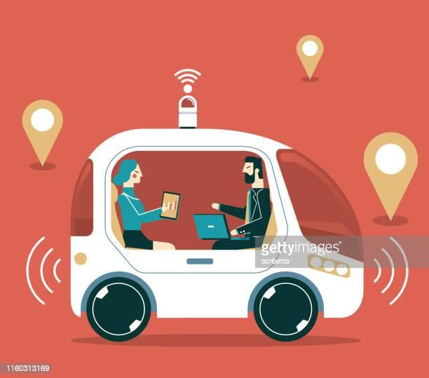 autonomous self-driving car - business people - runaway vehicle stock illustrations, clip art, cartoons, & icons