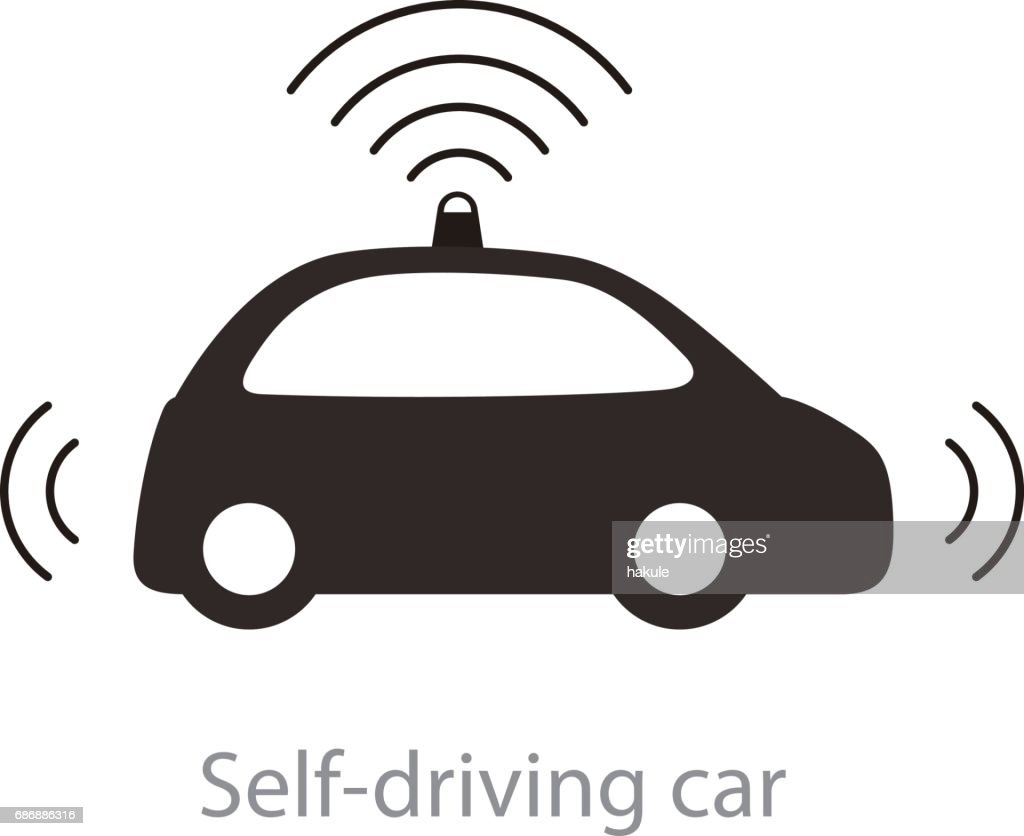 Autonomous self-driving car, side view with radar flat icon : stock illustration