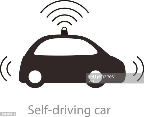 autonomous self-driving car, side view with radar flat icon - sensor stock illustrations, clip art, cartoons, & icons