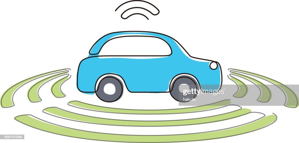 Autonome selbst fahrenden Auto, Seitenansicht mit flachen Radar-Symbol : Stock-Illustration