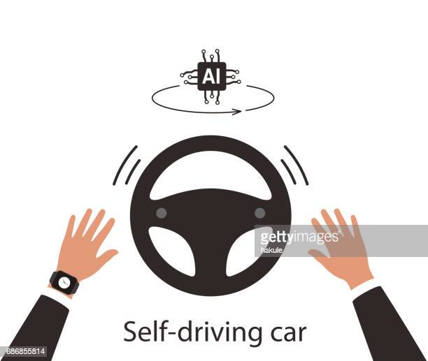 Autonomous self-driving concept, no touching, artificial intelligent