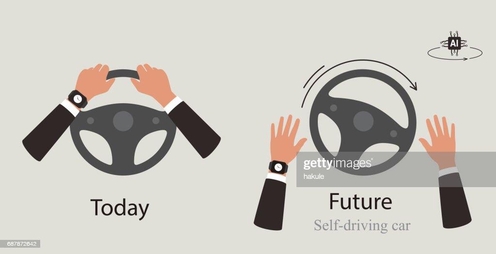 Autonomous self-driving cox : stock illustration