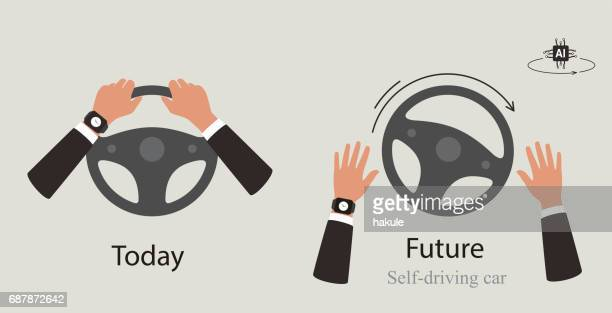 autonomous self-driving cox - steering wheel stock illustrations