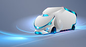 Autonomous truck drive on the road. Unmanned vehicles. Future concept car. VECTOR