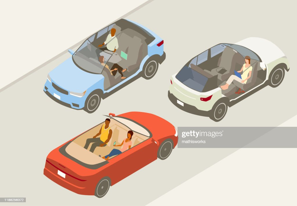 Autonomous vehicles illustration : stock illustration