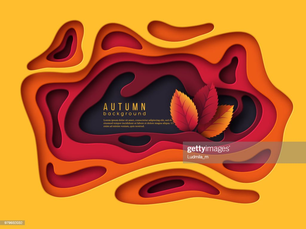 Autumn 3d paper cut background. Abstract shapes with leaves in yellow, orange, purple colors. Design for decoration, business presentation, posters, flyers, prints, vector illustration.