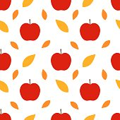 Autumn apples and leaves seamless pattern.