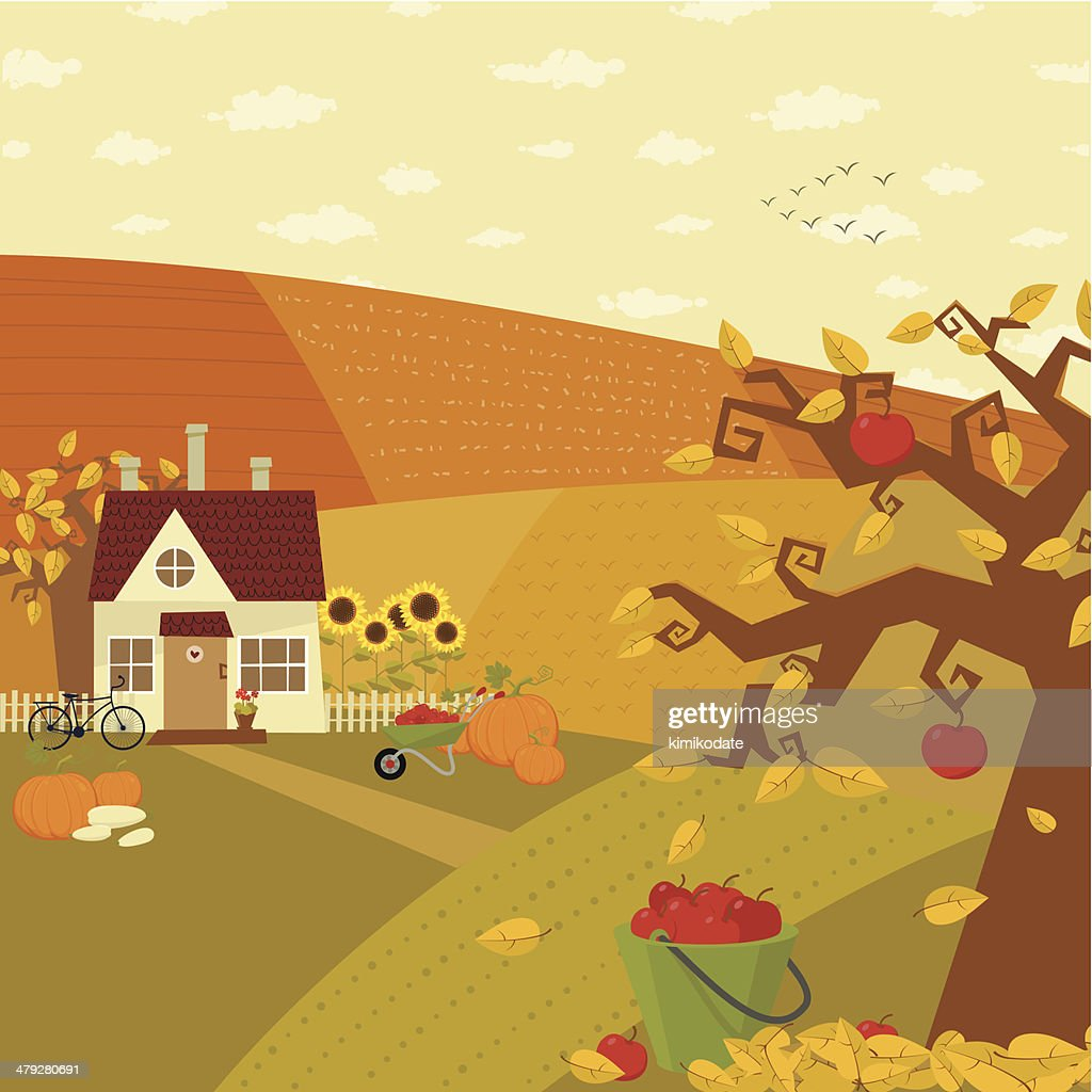 Autumn at farm : stock vector