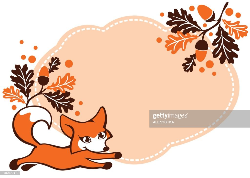 Autumn background with a Fox