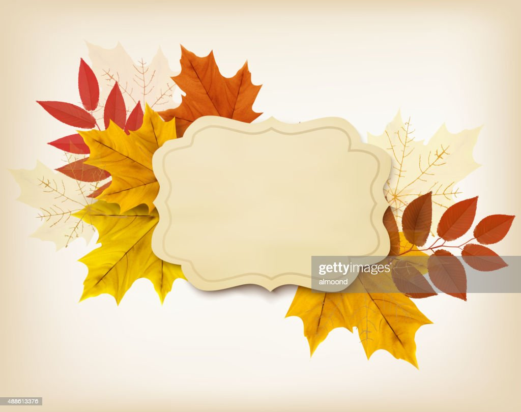Autumn background with a vintage card and colorful leaves. Vecto