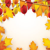 Autumn background with flags and balloons.