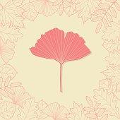 Autumn background with ginkgo leaf