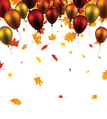 Autumn background with leaves and balloons.