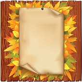 Autumn background with old paper and yellow leaves