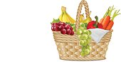 Autumn basket with, grapes, a branch of bananas, pears, peppers, carrot, napkin on white. Vector illustration