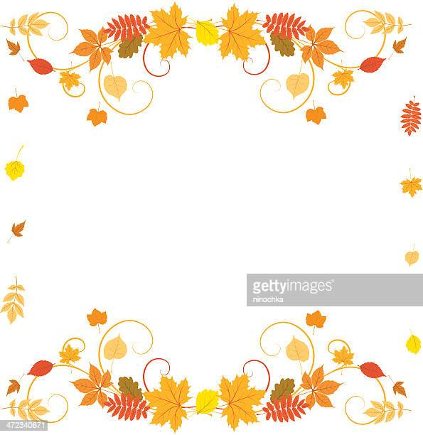 autumn border - leaving stock illustrations