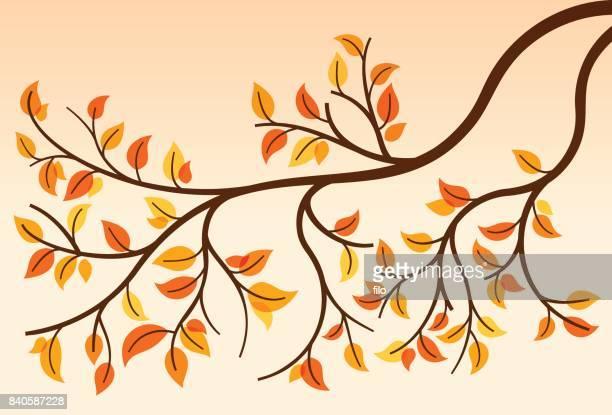 秋のブランチ - リーフ柄点のイラスト素材/クリップアート素材/マンガ素材/アイコン素材