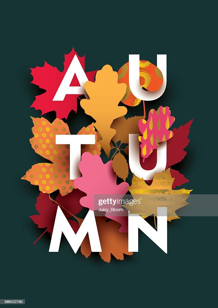 Autumn card with different plant elements on dark background.