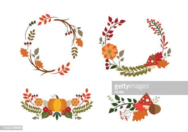 ilustraciones, imágenes clip art, dibujos animados e iconos de stock de otoño tarjeta con elementos para la decoración de dibujo a mano - decorar