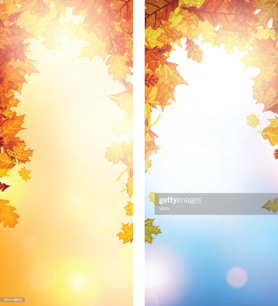 Autumn cards with orange leaves.