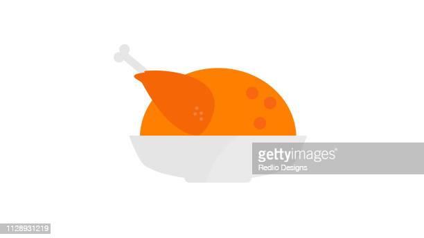 ilustraciones, imágenes clip art, dibujos animados e iconos de stock de icono de pollo de otoño - pollo asado