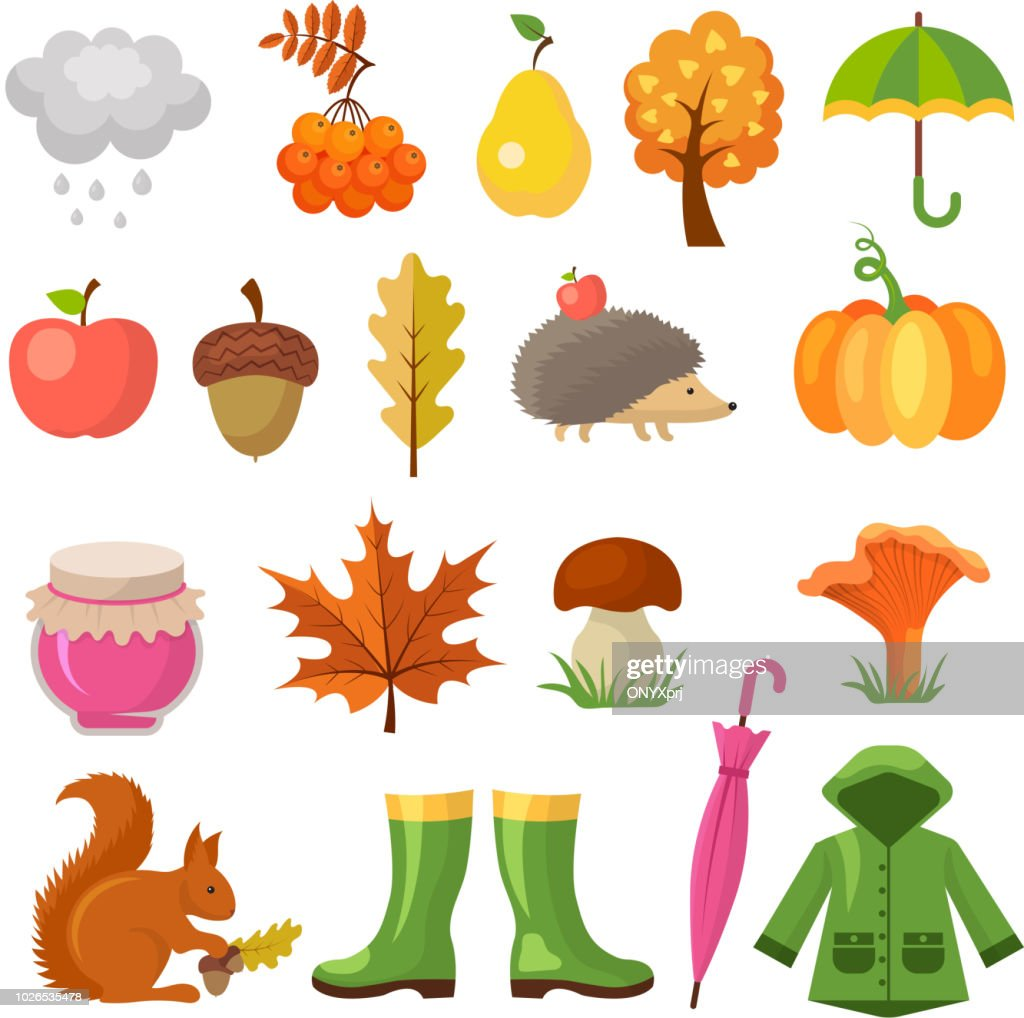 Autumn colored symbols. Vector icon set of autumn