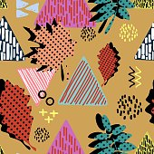 Autumn colorful leaves and foliage pattern with  hipster trendy vector illustration for textile and fashion.