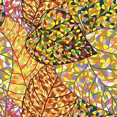 Autumn colorful mosaic leaves pattern background