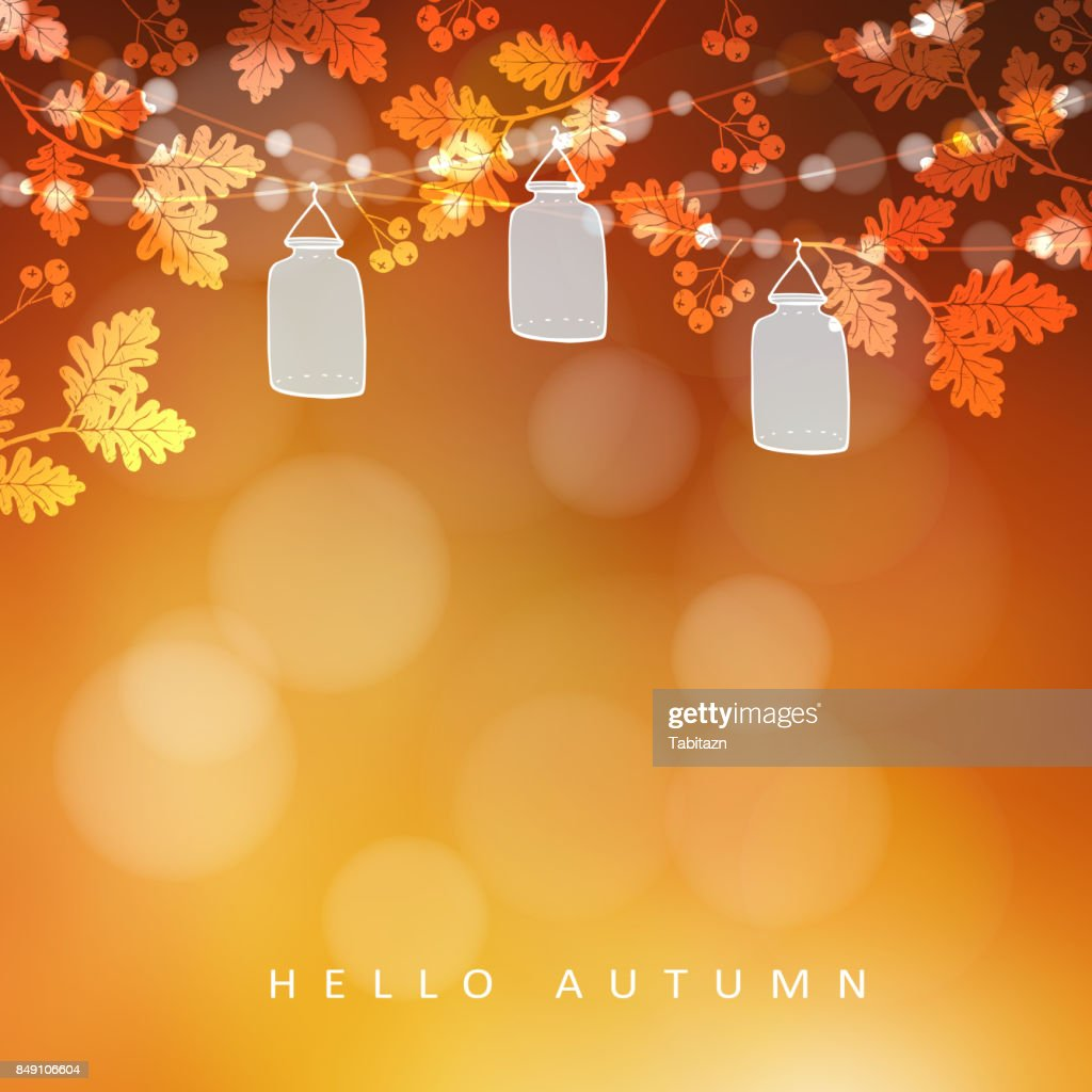 Autumn, fall blurred card, banner. Garden party decoration. Vector illustration background with a string of oak leaves, rowan berries, lights and glass jar lanterns