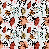 autumn fall foliage and leaves with geometrical abstract seamless pattern. Trendy backdrop for print and textile fashion.
