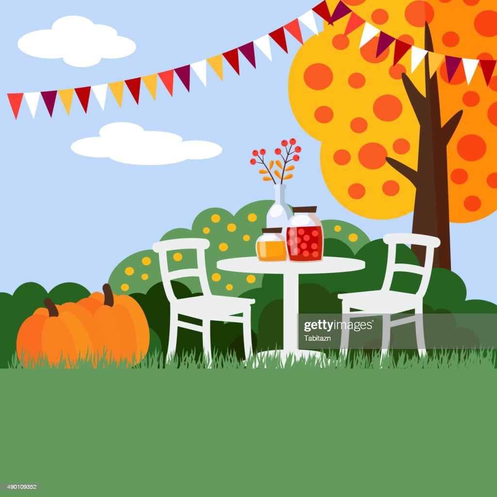Autumn, fall garden party background, flat design, vector
