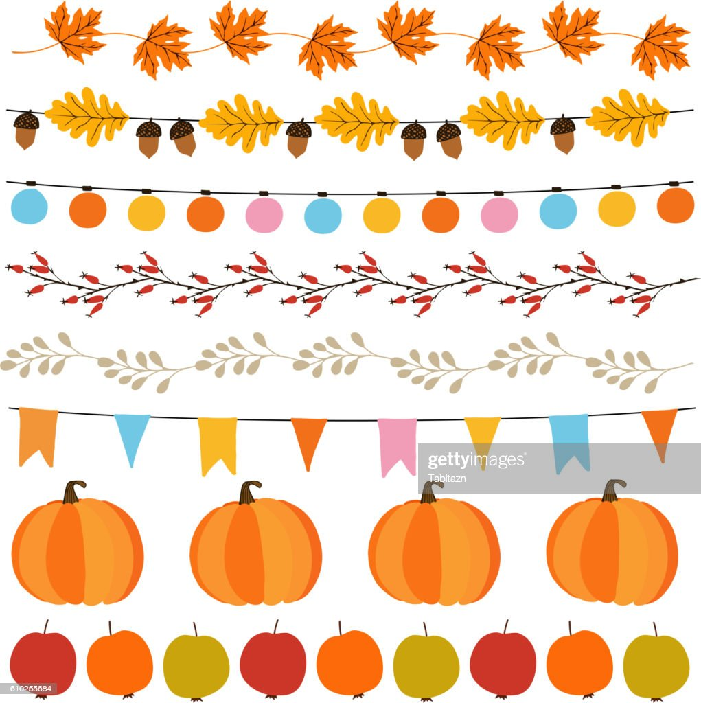 Autumn, fall garlands with lights, flags, acorns, leaves, pumpkins.