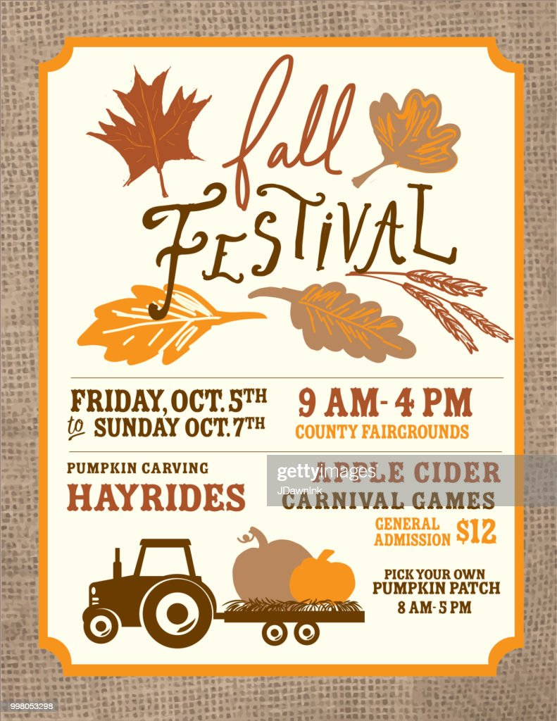autumn fall harvest festival poster invitation design