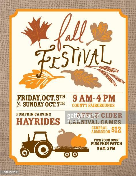 Autumn Fall Harvest Festival poster invitation design template