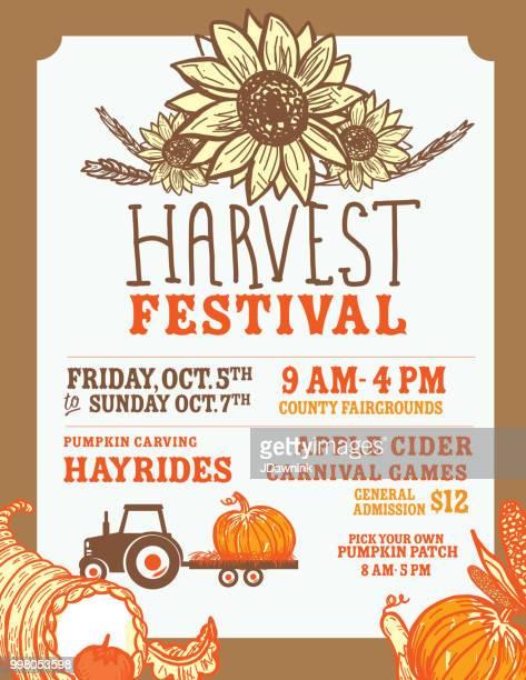 autumn fall harvest festival poster invitation design template - harvest festival stock illustrations