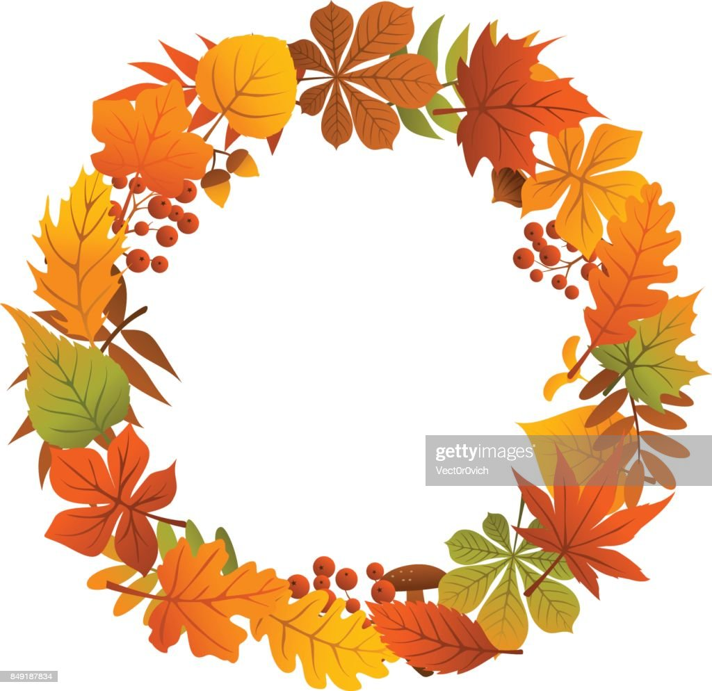 autumn fall leave branches twigs  colorful wreath