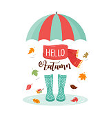 Autumn, fall season background, rain rubber boots with autumn leaves and flowers, scarf and umbrella
