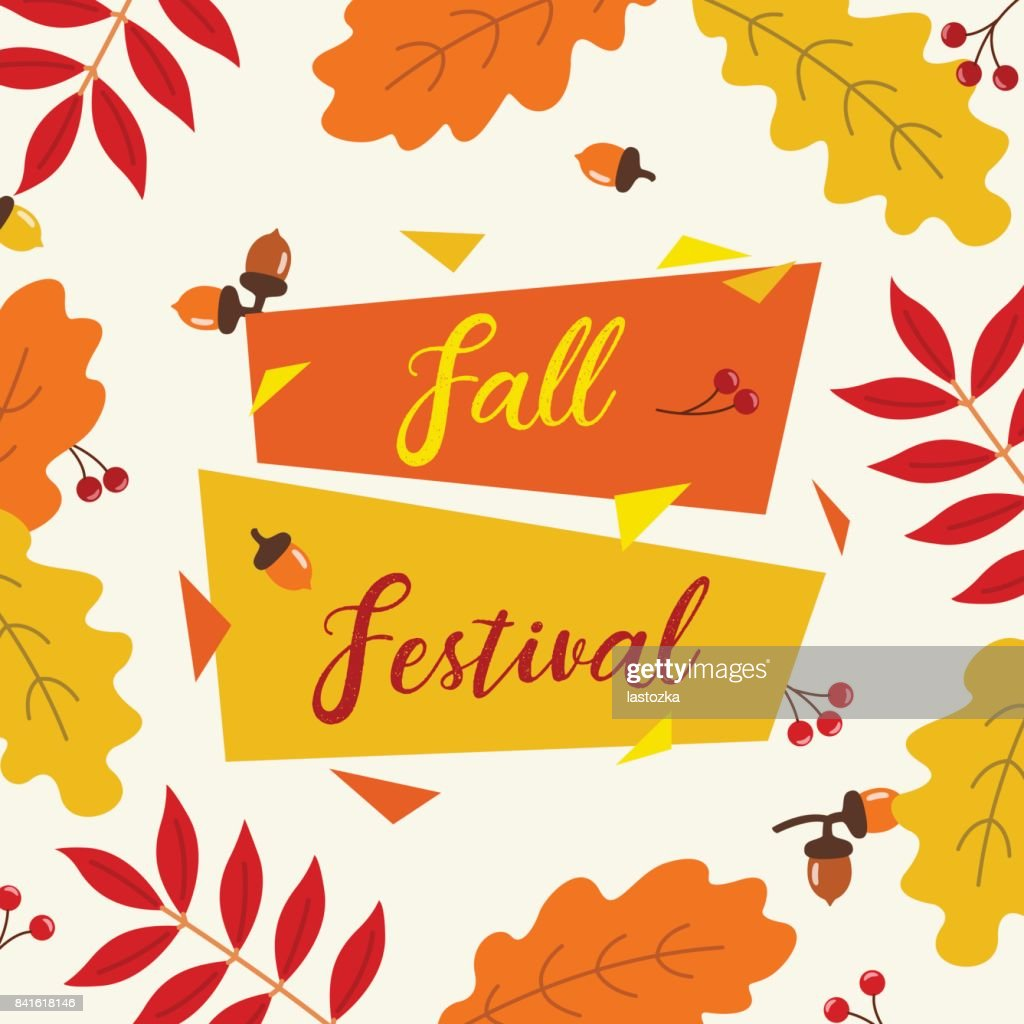 Autumn fall thanksgiving festival banner template with retro autumn fall thanksgiving festival banner template with retro geometric label oak leaves stopboris Images