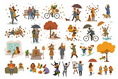autumn fall thanksgiving halloween people outdoor and at home cartoon vector illustration set