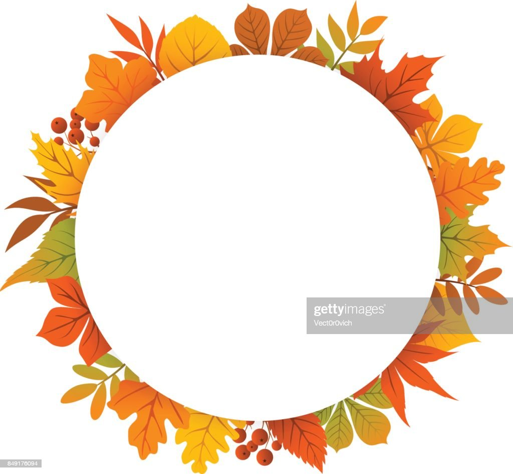 autumn, fall, thanksgiving round circle frame background