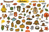 autumn fall thanksgiving seasonal colorful objects, grungy doodle set collection
