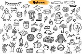 autumn fall thanksgiving seasonal sketchy silhouetttes objects, grungy doodle set collection in black color