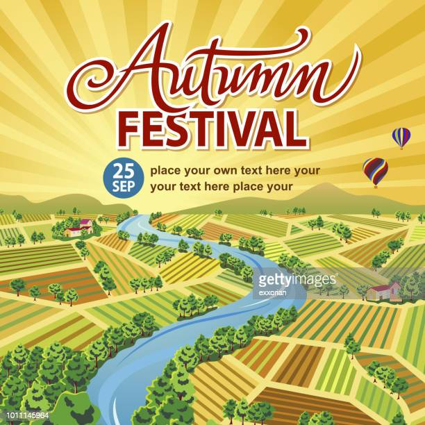 autumn festival in farmland - harvesting stock illustrations