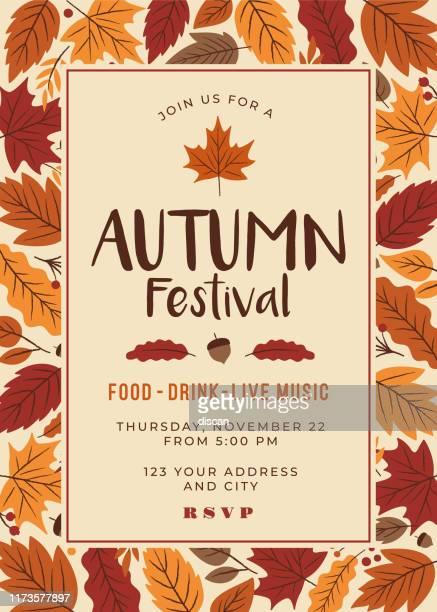 autumn festival poster template. - autumn stock illustrations