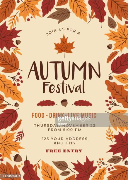 autumn festival poster template. - film festival stock illustrations
